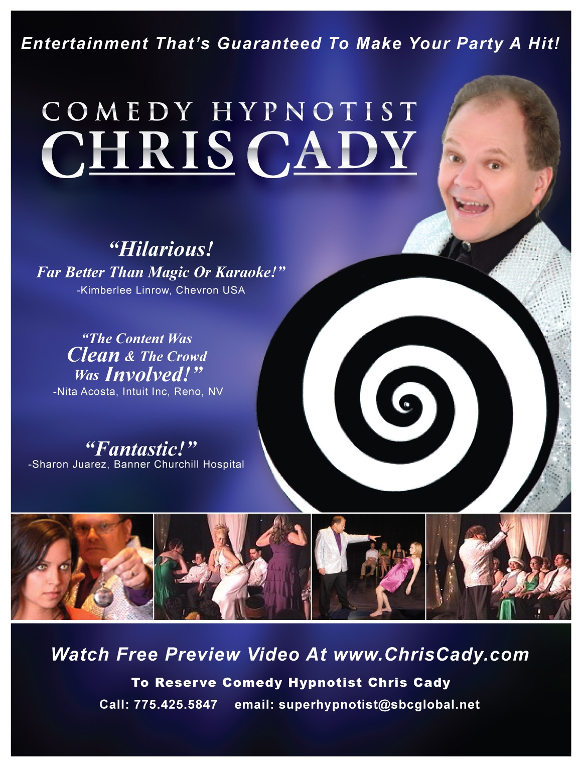 Corporate hypnosis shows hypnotist chris cady