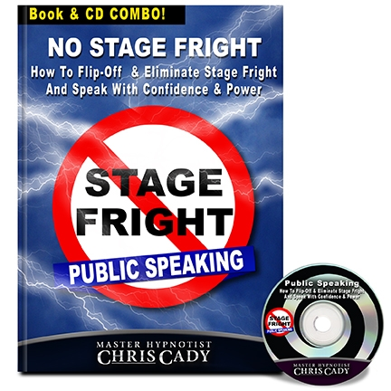 hypnosis stage fright for public speaking hypnosis cd and book cover