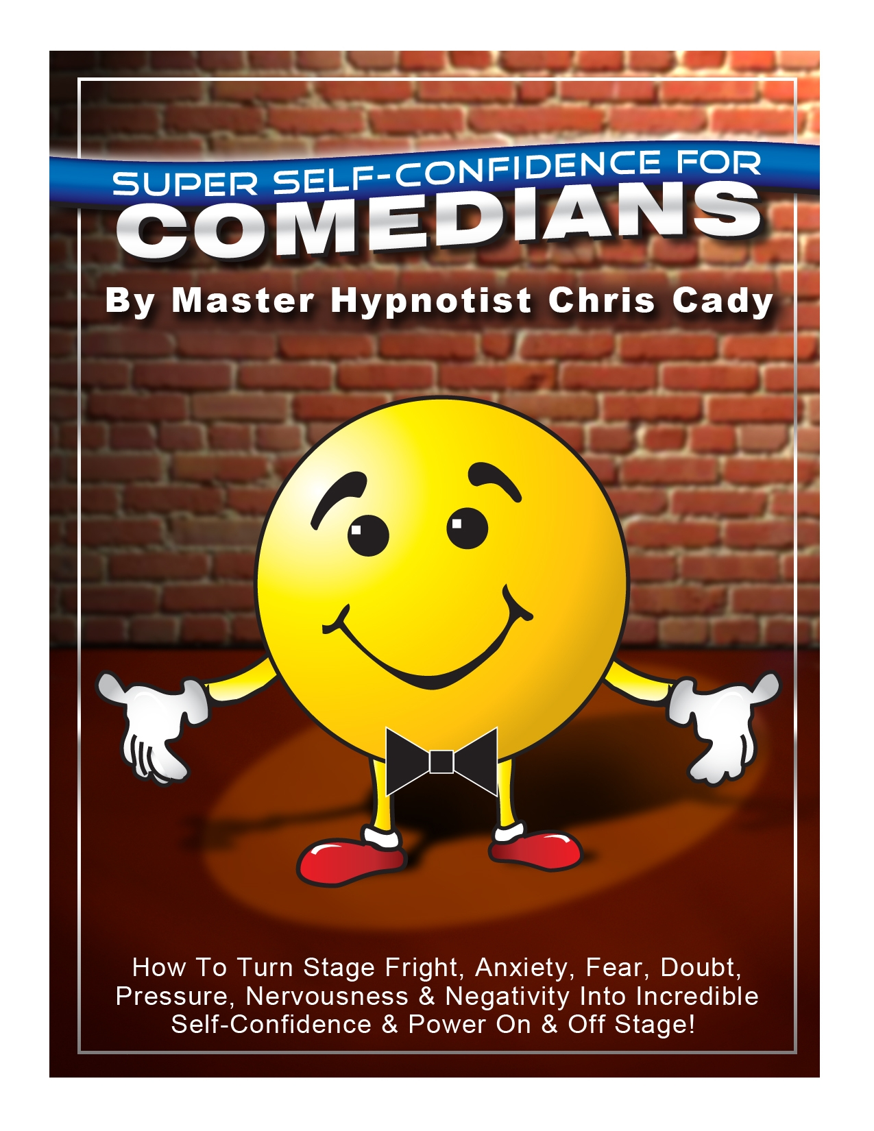 hypnosis cd and book cover for self confidence for comedians with hypnosis