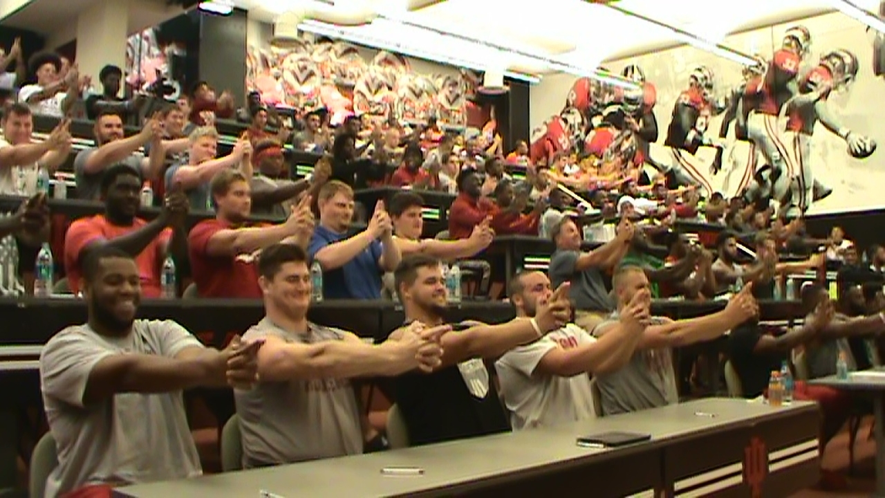 hypnosis with an entire college football team spots hypnotist Chris Cady