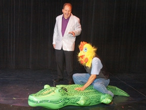 Hypnosis show pictures of a hypnotized crocokile hunter from Chris Cadys get hypnotized  Comedy hypnosis show www.chriscady.com