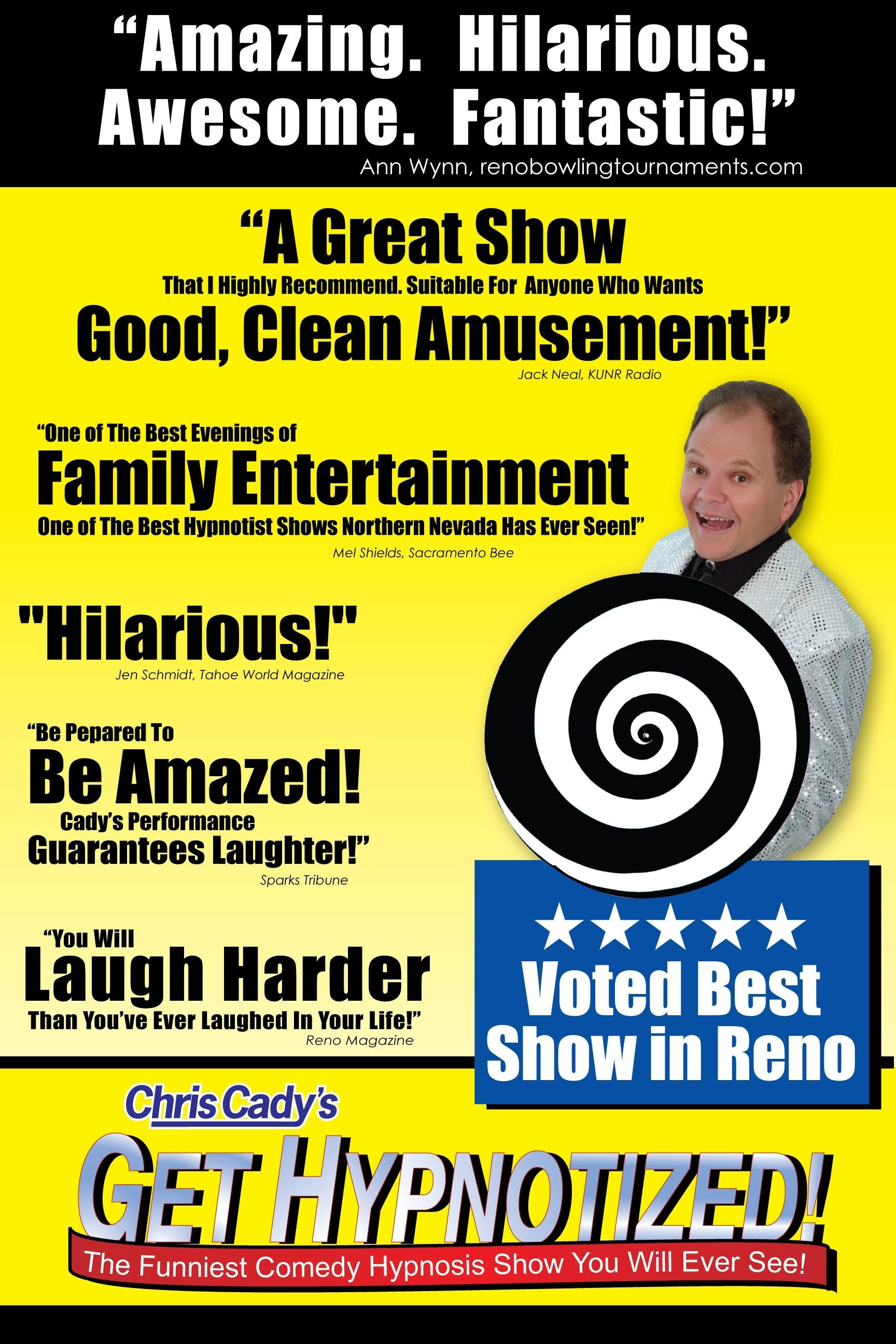 hypnotist chris cady comedy hypnosis show poster from get hypnotized show