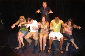 hypnotist chris cady with  hypnotized volunteers