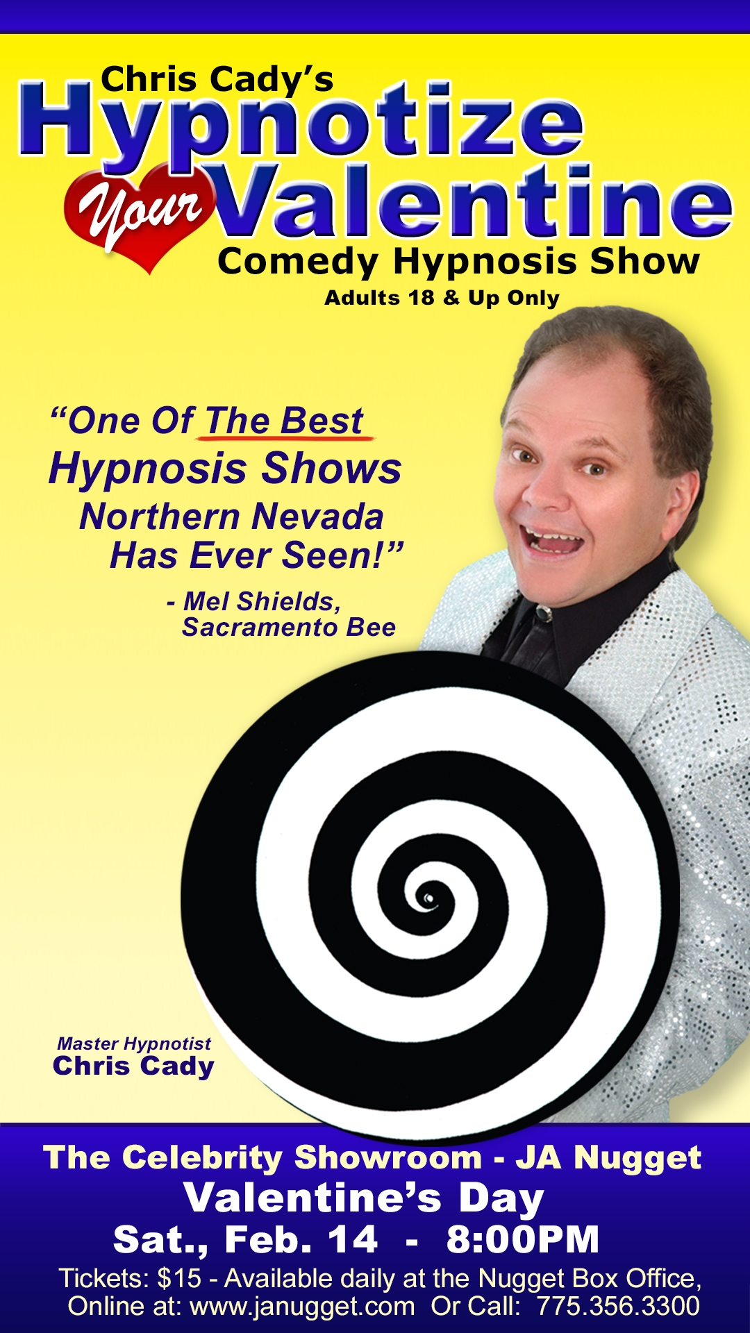 hypnotist chris cady poster for valentines day 2015 hypnosis show in reno